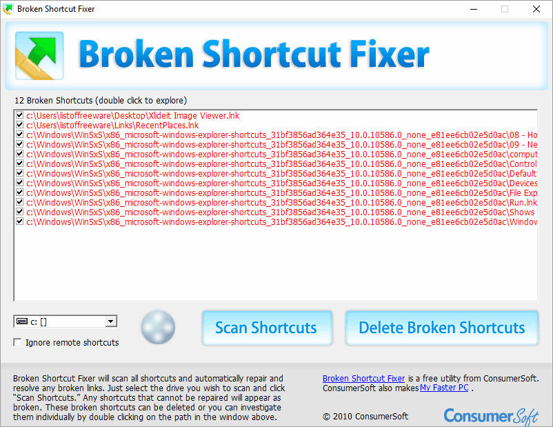 برنامج Broken Shortcut Fixer