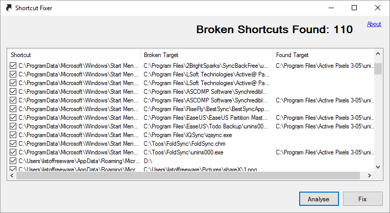 برنامج Shortcut Fixer